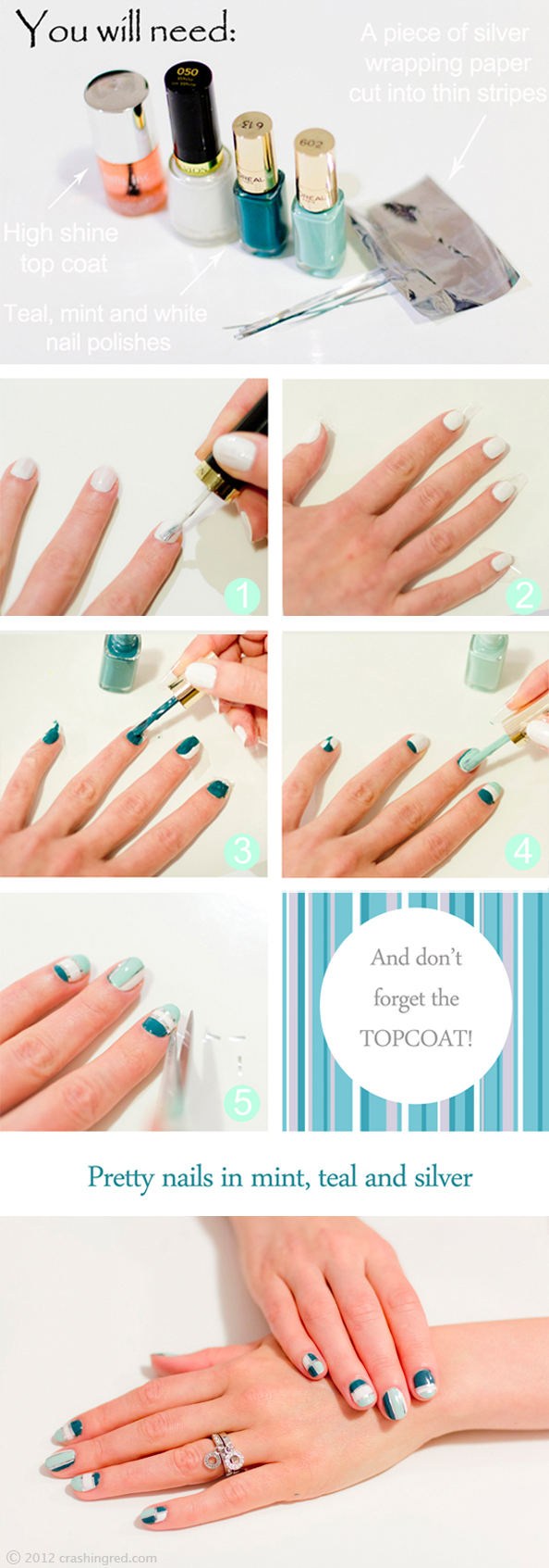 pretty nails, mint and silver, nail art tutorial