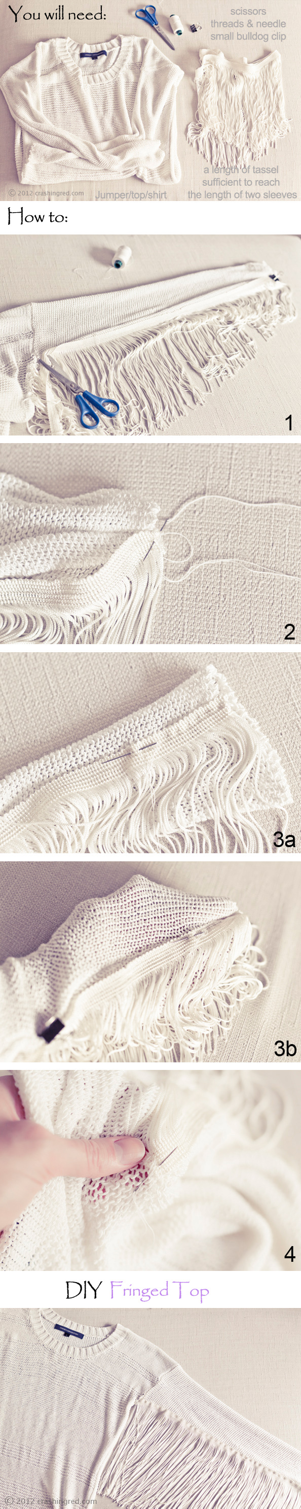 DIY fringed top how to tut
