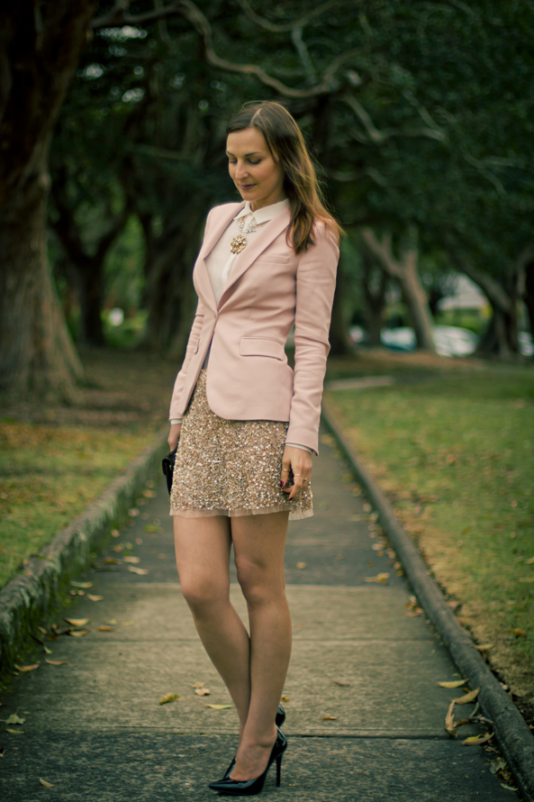 gold sequin skirt, pink Zara blazer