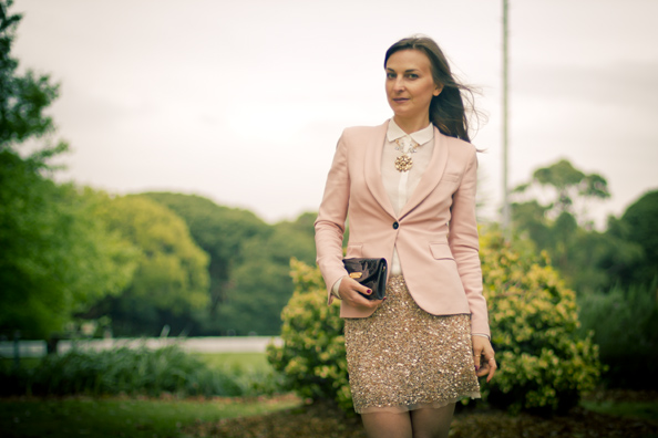 gold sequins skirt, pink blazer
