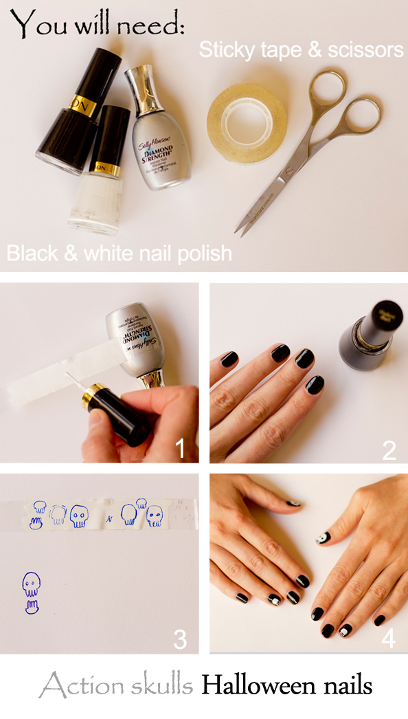 skulls cute halloween nails how to