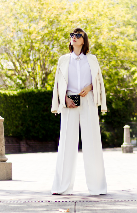 Zara white wide leg pants