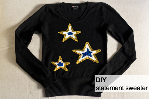 diy statement sweater, sequins sweater