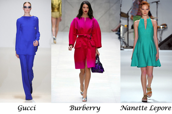 electric blue, fuchsia, aquamarine, colours in fashion for 2013, gucci