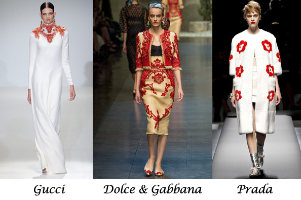 fashion trend summer spring, white and red, gucci, prada, dolce gabbana