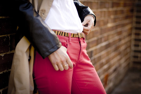 leather sleeve tremch coat, red jeans