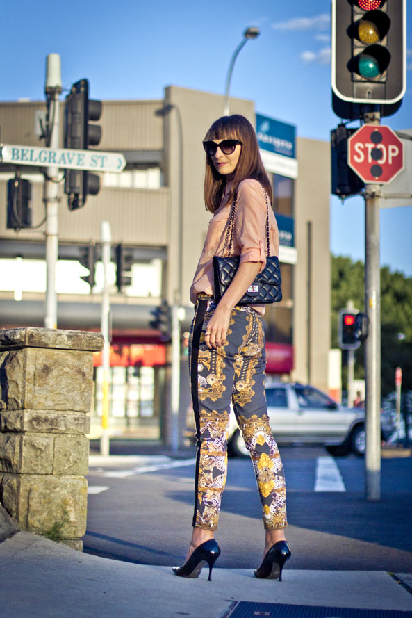 maurie&eve statement printed pants, chanel quilted bag