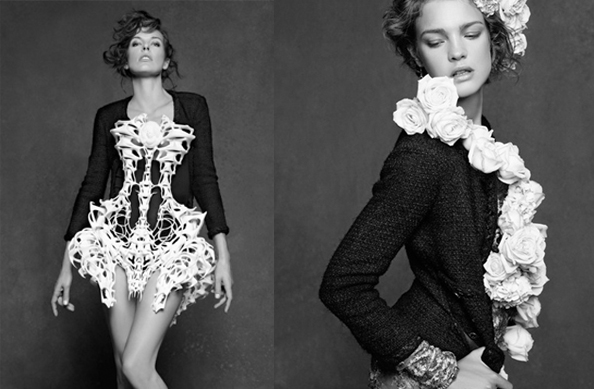 milla natalia vodianova chanel exhibition little black jacket