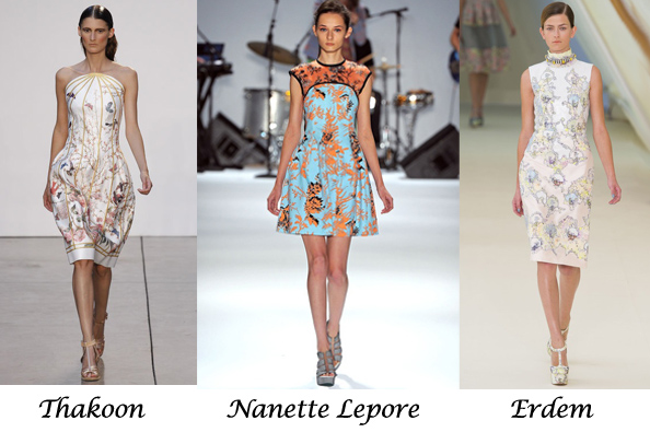 spring summer 2013 fashion, thakoon, erdem, dresses, bird print