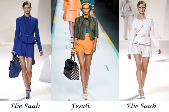 spring summer 2013 fashion trend, fendi, elie saab, short suit