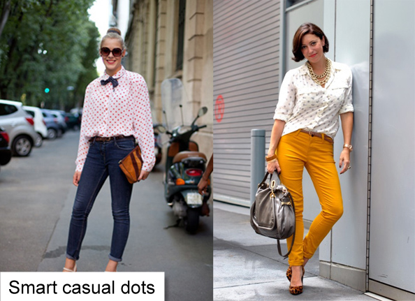 polka dot blouse and jeans