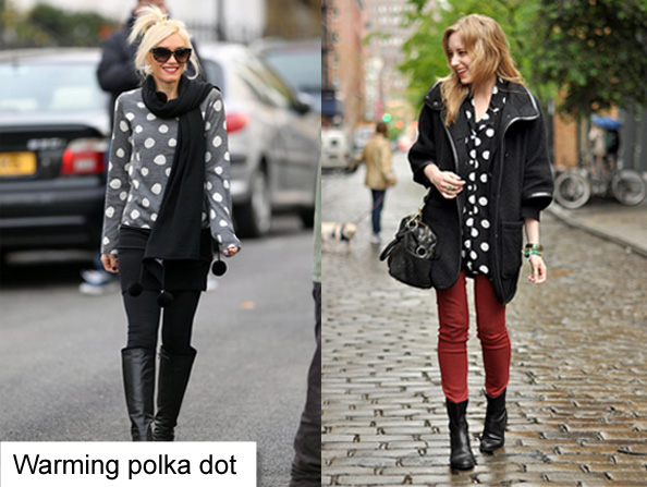polka dot winter outfit