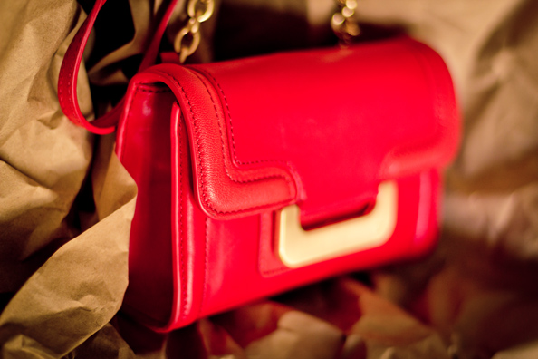 DVF Charlie red leather bag