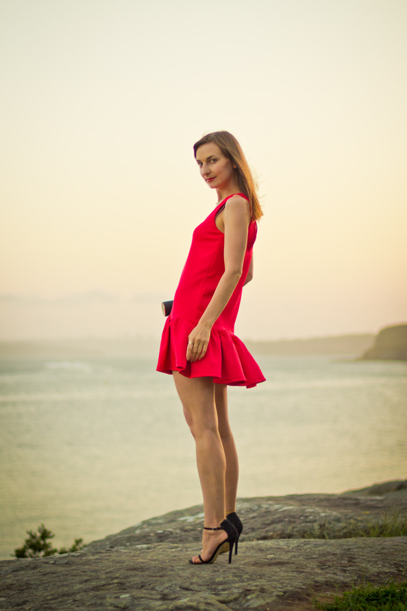 red mini dress, outfit for engagement party