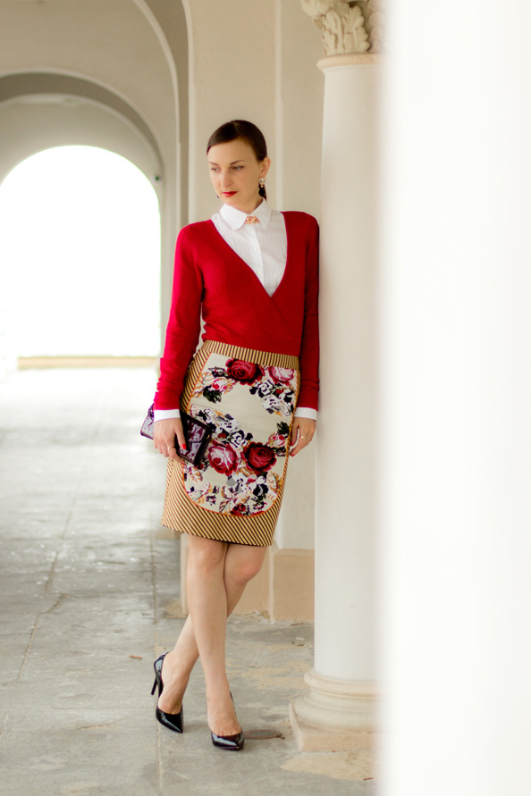 bright colour elegant outfit, floral skirt