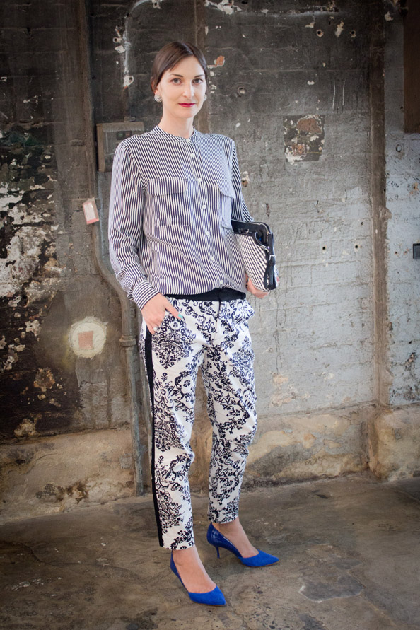fashion week outfit, clashing prints