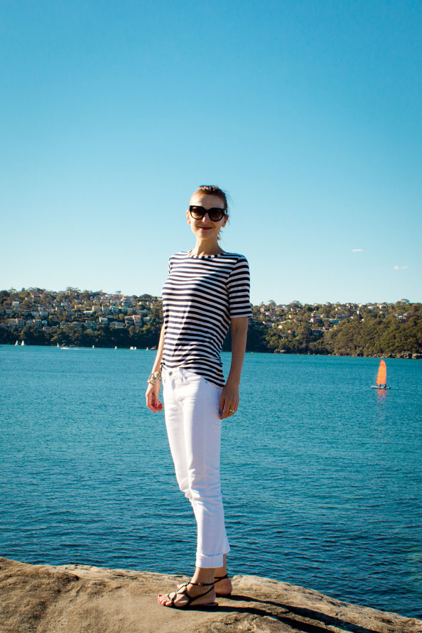 white jeans stripey top