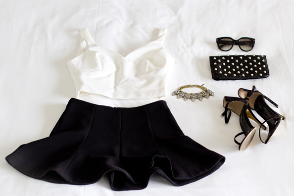 black and white outfit for summer