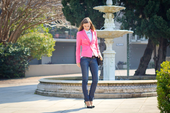 outfit with pink jacket