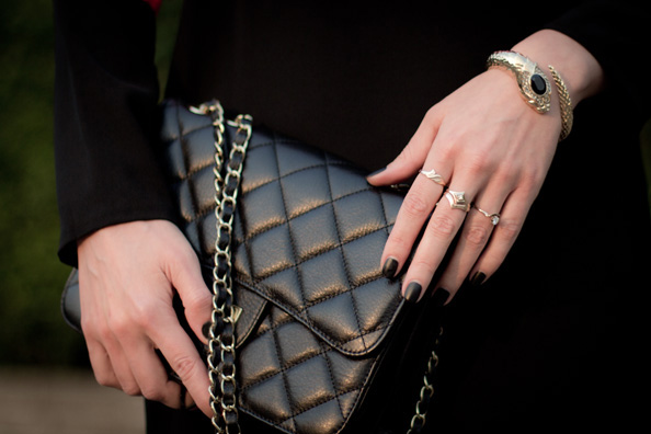 black matte nails, black chanel bag