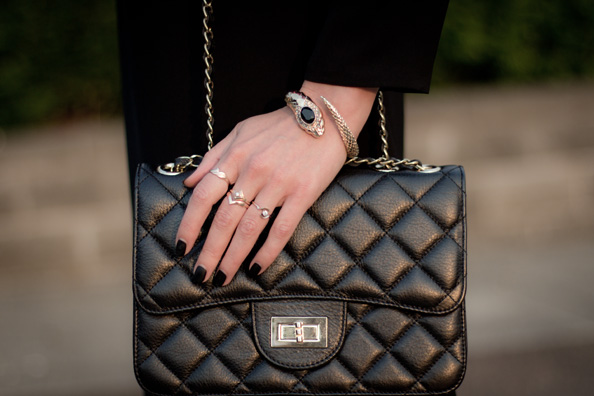 black matte nails, black leather chanel bag