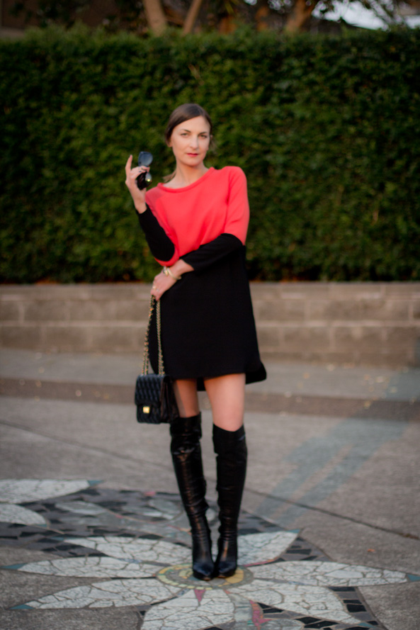 colourblock zara dress and long boots