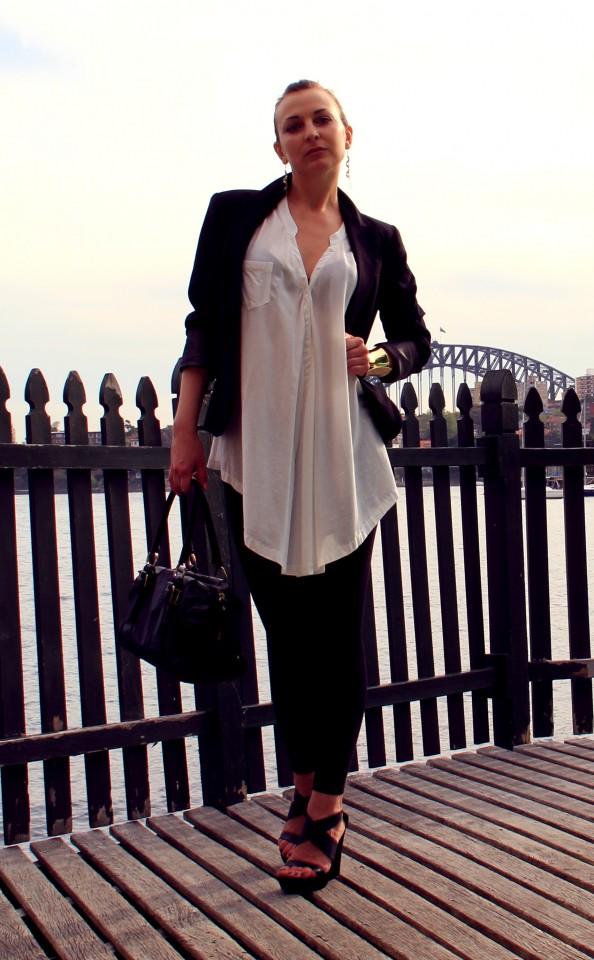 Black jacket, outfit, black wedges, white crisp shirt, office style, fashion blog