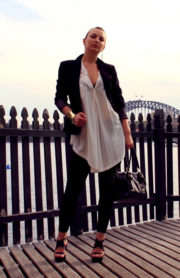 Black jacket, outfit, black wedges, white crisp shirt, sleek hairstyle, corporate style, Marusya V, golden cuff, fashion blog