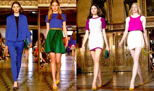 Camilla and Marc, RAFW 2011 - green and blue, pink, white, color blovking trend, new season fashion 2011