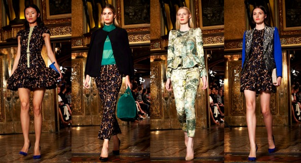 Leopard print, earthy prints, cropped pants, frills, structured jacket, 2011 2012 fashion trend, Camilla and Marc, RAFW 2011