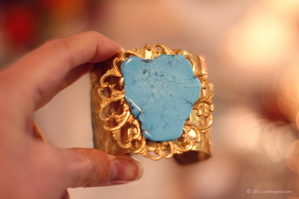 Golden cuff with turquiose, sydney jewellery design