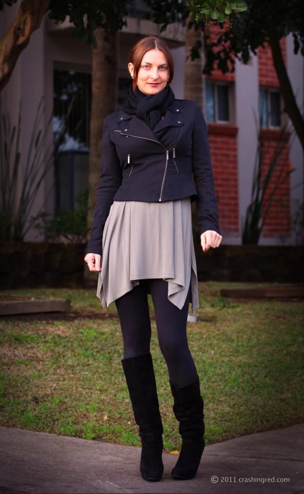 Marusya V, fashion blog Sydney, winter 2011 style, outfit, casual style, Witchery dress, biker jacket