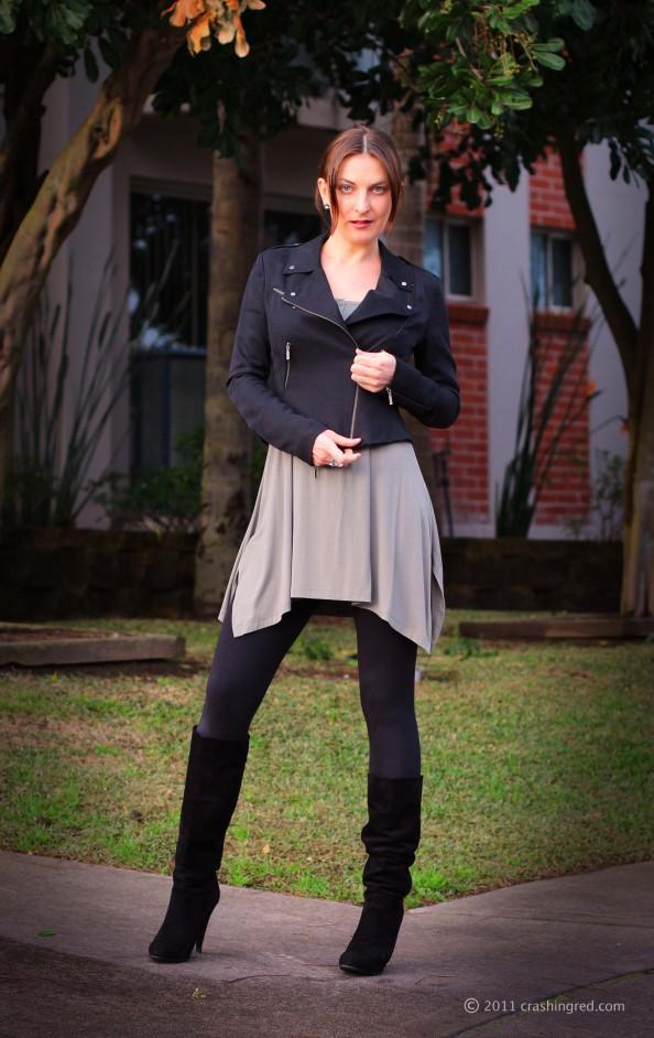 Marusya V, fashion blog Sydney, winter 2011 style, outfit ideas, casual style, Witchery dress, biker jacket