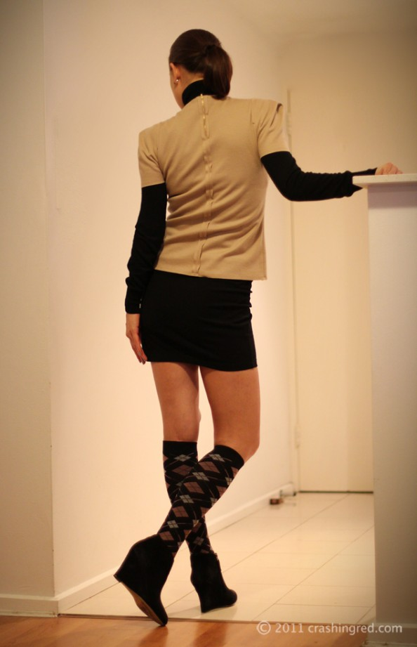 crashingred, fashion blog sydney, outfit, country road top, beige color trend, layering, 2012 fashion, styling socks
