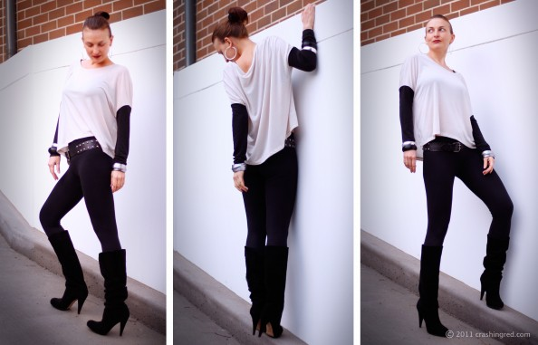 fashion blog sydney outfit colour blocking black and white long suede boots, chunky bangles, style