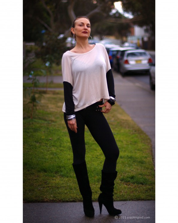 fashion blog sydney outfit, new season 2011 style, outfit, leggins as pants, slouchy top