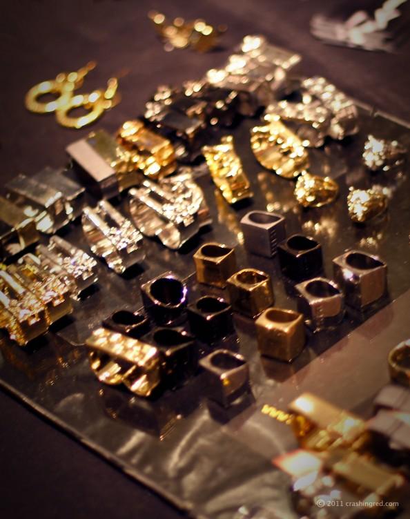 golden metal steel stuckable rings, original jewellery design, sydney designer