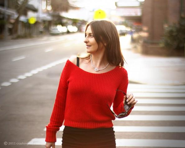 Marusya v, fashion blogger Australia, crashingred, fashion blog, red sweater, styling slouchy top