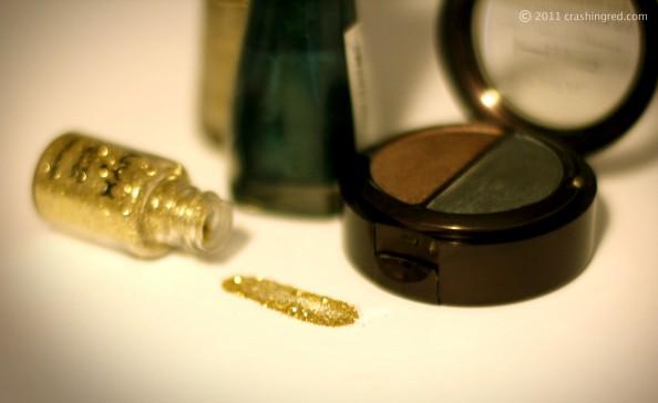 NYX gold glitter, jade hip Loreal eyeshadows Sassy 208, 22 jumpin jade sally hansen nail polish