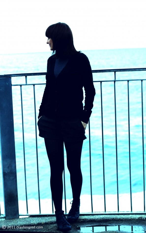 Fashion blog sydney, crashingred, fashion style winter 2012, casual dark colors, shorts