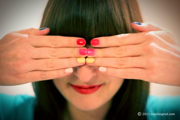 Multi color manicure, revlon top speed swatches, fashion blog australia