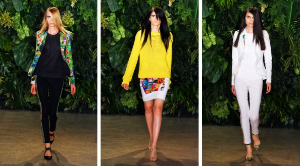 altuzarra new york fashion week 2012 summer trend report brights, skinny leg pants suit, black and white, yellow