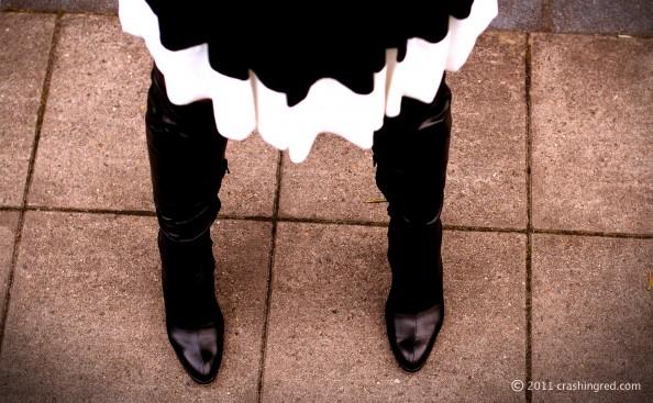 over the knee long boots, plaid skirt, autumn style fashion blog Australia