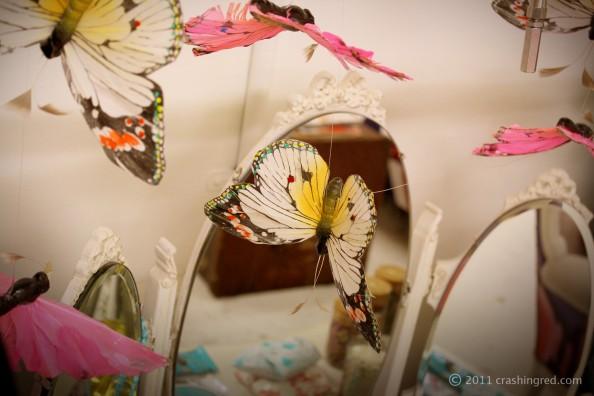 park avebue pr showroom, butterflies, interior ideas