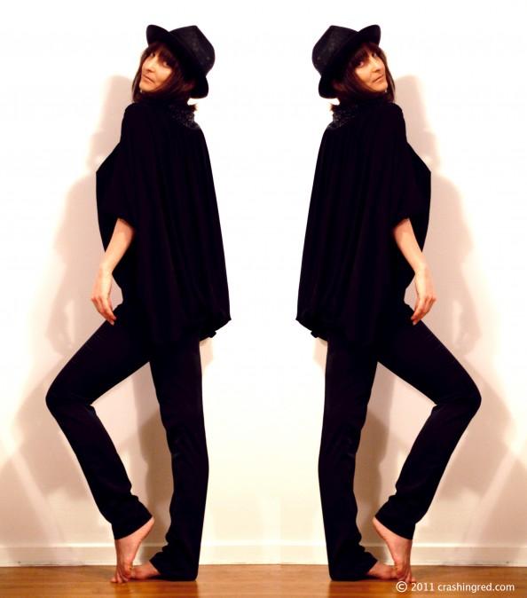 Coco Ribbon black silk cape, hat, styling, summer 2012 fashion, no bra, fashion blog australia