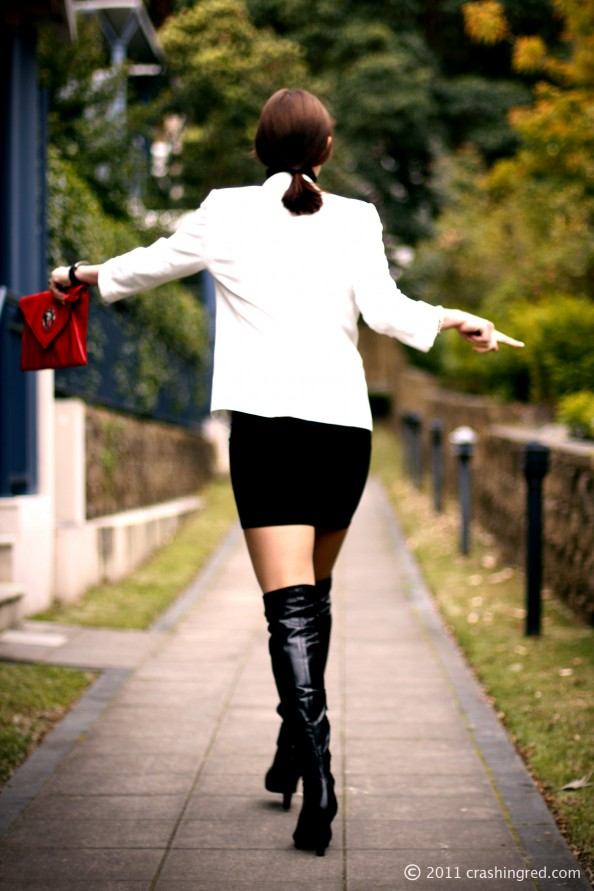 Mimco red clutch, over the knee boots, business chic, style for office, white blazer marcs, crashingred, australia fashion blog
