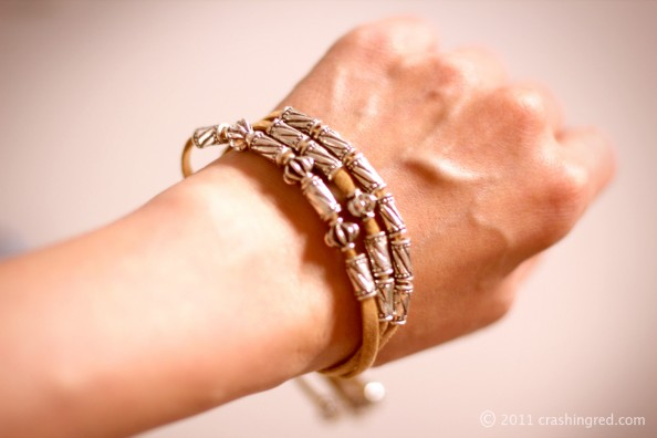 leather stap bracelet, silver beads, how to do it yourself, DIY, blog australia