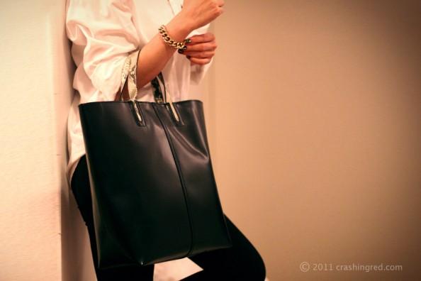 oversized black leather zara bag, 2012 fashion trend bags, australian fashion blog