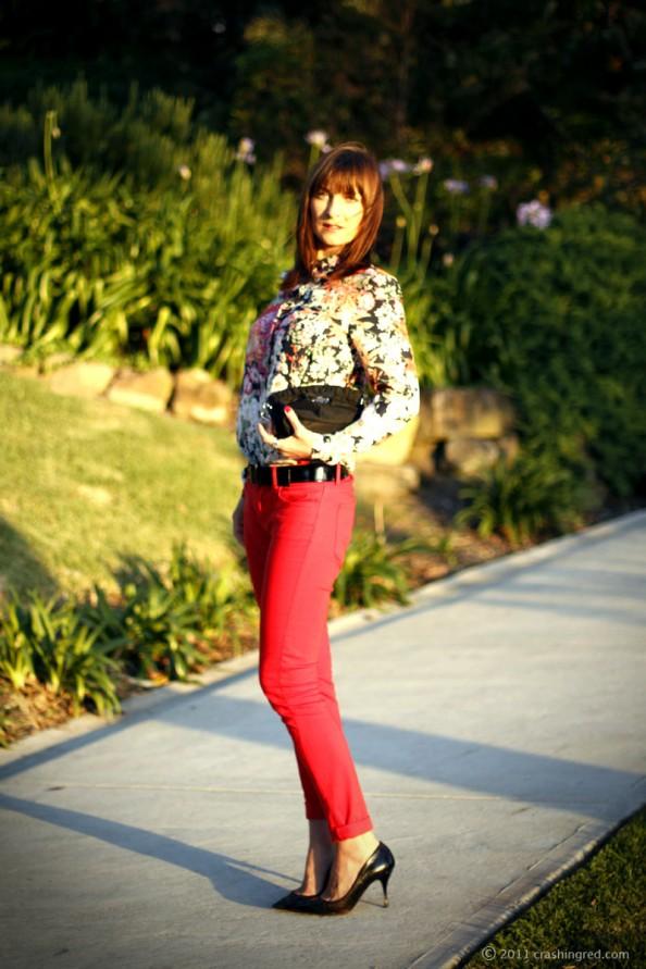 coloured denim, floral print, styling, summer 2012 fashion, fashion blogger
