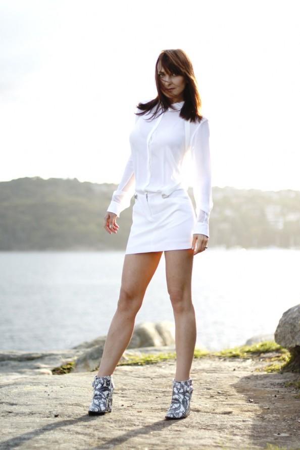 dion lee 2 braced dress white silk, summer wear, summer 2012, sydney fashion blog